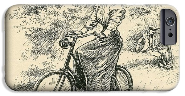 Nineteenth iPhone Cases - A 19th Century Female Cyclist.  From The Strand Magazine Published 1897 iPhone Case by Bridgeman Images
