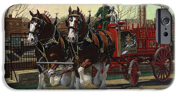 Training iPhone Cases - Two Horse Training Wagon iPhone Case by Don  Langeneckert