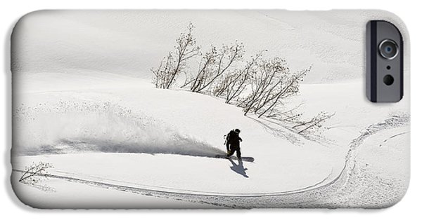Adrenaline iPhone Cases - A Backcountry Snowboarder Carving In iPhone Case by Chris Miller