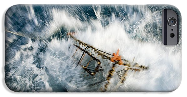 Dunk iPhone Cases - A Baited Pot Crashes Into The Water iPhone Case by Scott Dickerson