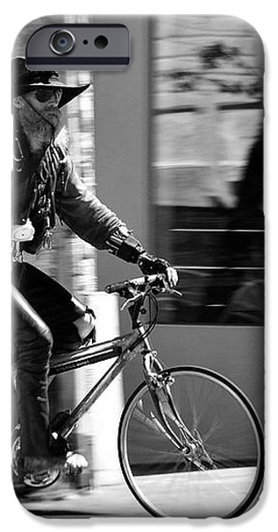 A barefoot cyclist with beard and hat in San Francisco iPhone Case by RicardMN Photography