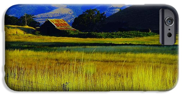 Old Barns iPhone Cases - A barn and field in the morning iPhone Case by Jeff  Swan