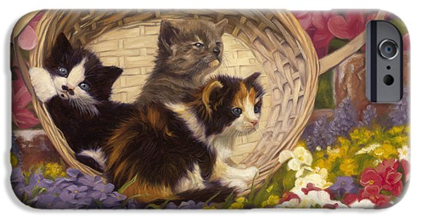 Basket Paintings iPhone Cases - A Basket Of Cuteness iPhone Case by Lucie Bilodeau