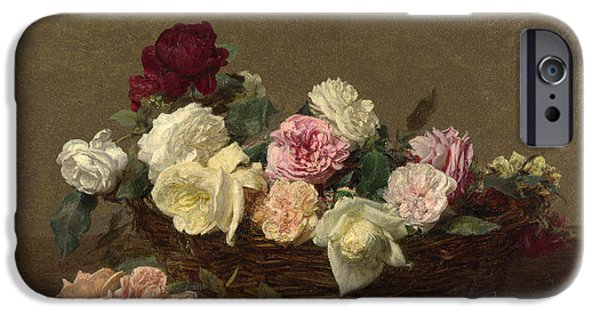 Recently Sold -  - Basket iPhone Cases - A Basket of Roses iPhone Case by Henri Fantin-Latour