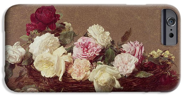 Tasteful Art iPhone Cases - A Basket of Roses iPhone Case by Ignace Henri Jean Fantin-Latour