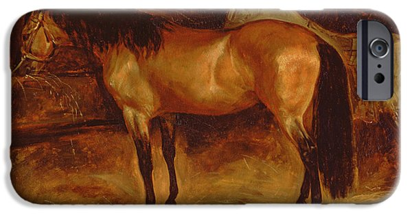 Stable iPhone Cases - A Bay Horse At A Manger, With A Grey Horse In A Rug iPhone Case by Theodore Gericault