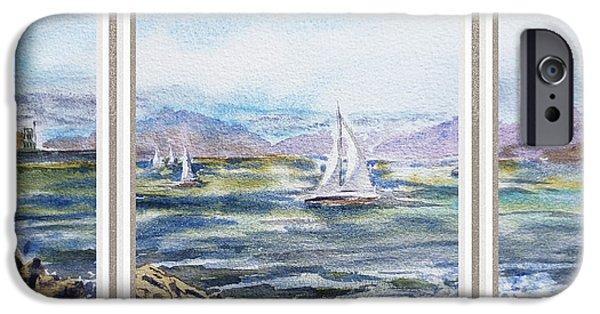 Sailboat Ocean iPhone Cases - A Bay View Window Rough Waves iPhone Case by Irina Sztukowski
