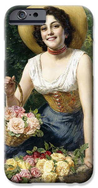 Choker iPhone Cases - A Beauty holding a Basket of Roses iPhone Case by Gaetano Bellei