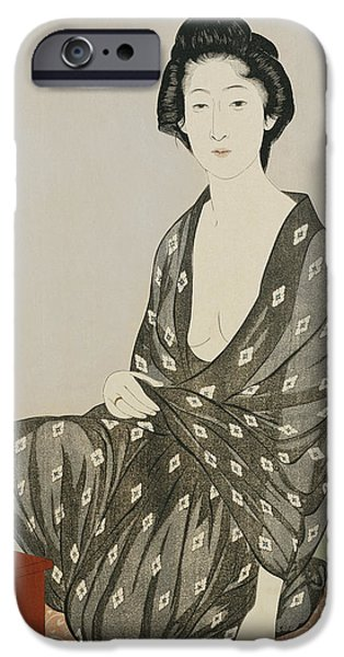 Woman In A Dress iPhone Cases - A beauty in a black kimono iPhone Case by Hashiguchi