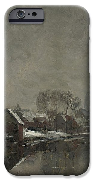 A Belgian Town in Winter iPhone Case by Albert Baertsoen