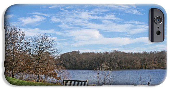 Peacefull iPhone Cases - A Bench With a View iPhone Case by Tom Gari Gallery-Three-Photography
