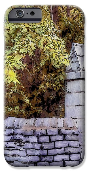 Pen And Ink Photographs iPhone Cases - A Bend in the Wall iPhone Case by Jo-Anne Gazo-McKim