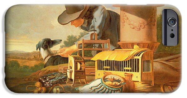 Bird Cage iPhone Cases - A Birdcatcher And His Dog Oil iPhone Case by Antonius Leemans