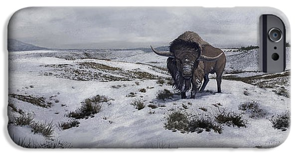 Winter Storm iPhone Cases - A Bison Latifrons In A Winter Landscape iPhone Case by Roman Garcia Mora