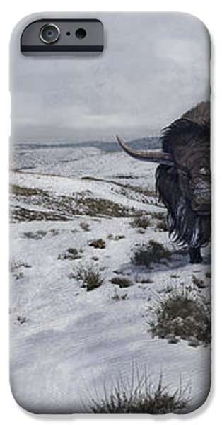 A Bison Latifrons In A Winter Landscape iPhone Case by Roman Garcia Mora