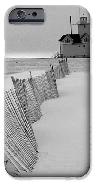 Sand Fences iPhone Cases - A Black And White Photograph of the Lighthouse Big Red in Holland Michigan iPhone Case by Randall Nyhof