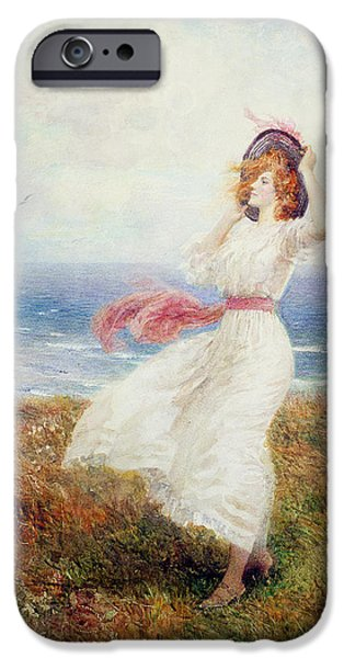Windy iPhone Cases - A Blow On The Cliffs iPhone Case by Arthur Hopkins