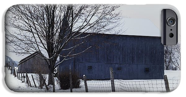 Winter Scene iPhone Cases - A Blue Barn - the Scenic Berkshires iPhone Case by Thomas Schoeller