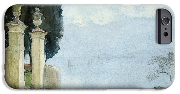 On Paper Paintings iPhone Cases - A Blue Day on Como iPhone Case by Joseph Walter West