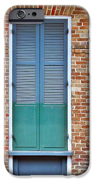 Architectural Elements iPhone Cases - A Blue Door in New Orleans iPhone Case by Christine Till