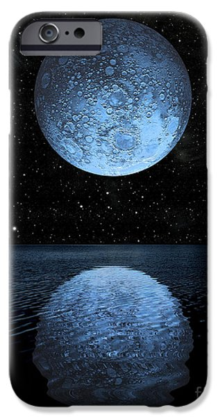 Sea Moon Full Moon iPhone Cases - A Blue Moon Rising Over A Calm Alien iPhone Case by Marc Ward