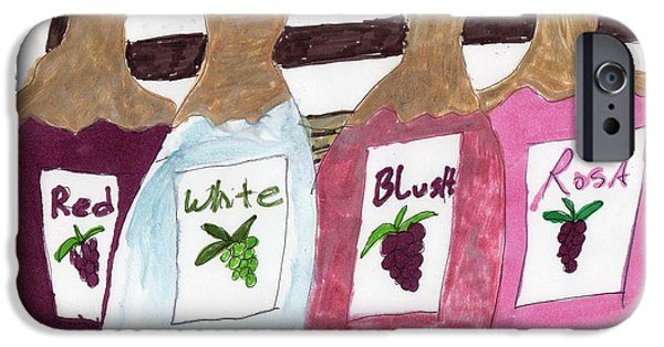 Table Wine Mixed Media iPhone Cases - A Bottle of Red iPhone Case by Elinor Rakowski