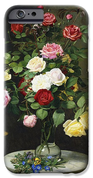 Glass Vase iPhone Cases - A Bouquet of Roses in a Glass Vase by Wild Flowers on a Marble Table iPhone Case by Otto Didrik Ottesen