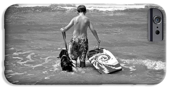 Hallmark Greeting Card iPhone Cases - A Boy and His Dog Go Surfing iPhone Case by Kristina Deane