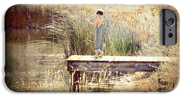 Weed Line iPhone Cases - A Boy Fishing iPhone Case by Jt PhotoDesign