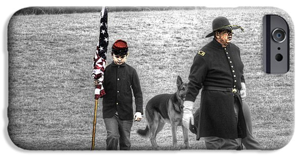 Weapon iPhone Cases - A Boy His Dog and The Flag Civil War V2 Tinted iPhone Case by John Straton