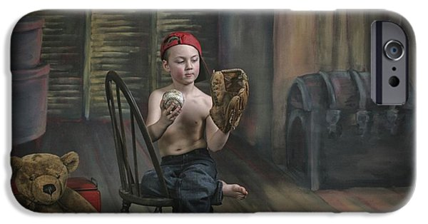 Baseball Glove iPhone Cases - A Boy In The Attic With Old Relics iPhone Case by Pete Stec
