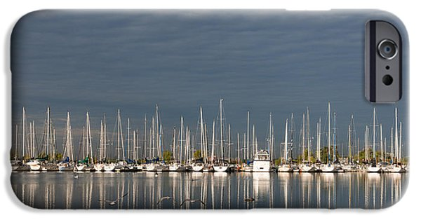 Flying Seagull iPhone Cases - A Break in the Clouds - White Yachts Gray Sky iPhone Case by Georgia Mizuleva
