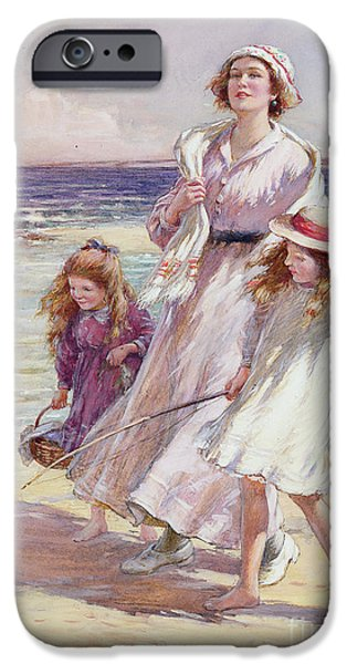 On The Beach iPhone Cases - A Breezy Day at the Seaside iPhone Case by William Kay Blacklock