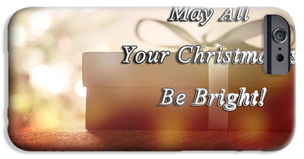 Christmas Greeting iPhone Cases - A Bright Christmas iPhone Case by Janice Rae Pariza