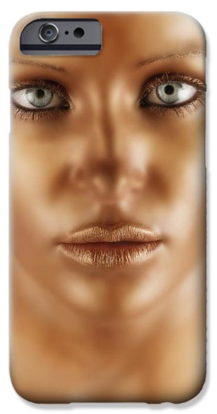 Statue Portrait iPhone Cases - A Bronze Face iPhone Case by Darren Greenwood