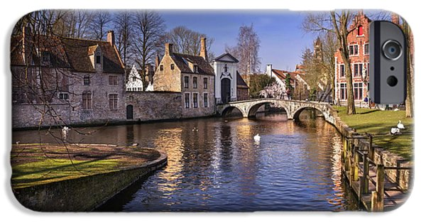 Town iPhone Cases - Blue Bruges iPhone Case by Carol Japp