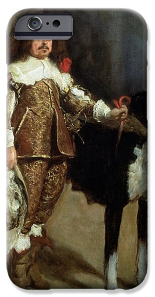 Feathered Hat iPhone Cases - A Buffoon Sometimes And Incorrectly Called Antonio The Englishman Oil On Canvas iPhone Case by Diego Rodriguez de Silva y Velazquez