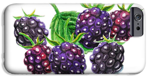Electronic Paintings iPhone Cases - A Bunch Of Blackberries iPhone Case by Irina Sztukowski
