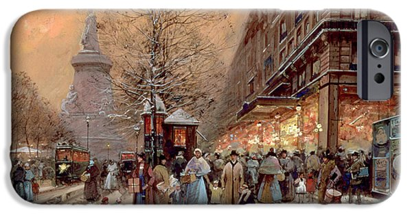 Winter Light iPhone Cases - A Busy Boulevard near the Place de la Republique Paris iPhone Case by Eugene Galien-Laloue