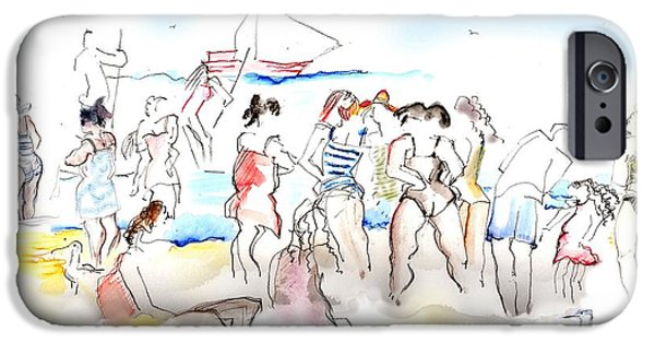 Bathing Mixed Media iPhone Cases - A Busy Day at the Beach iPhone Case by Carolyn Weltman