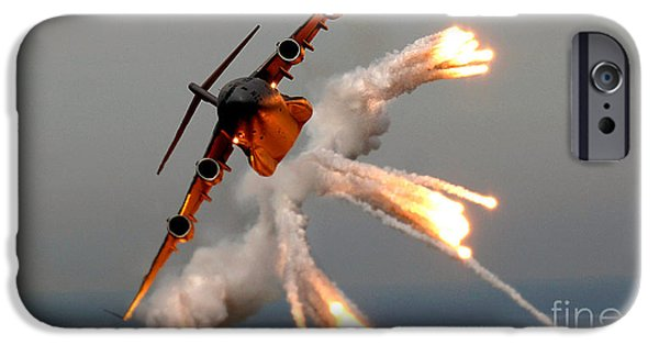 Sea Watch iPhone Cases - A C-17 Globemaster IIi Releases Flares iPhone Case by Celestial Images