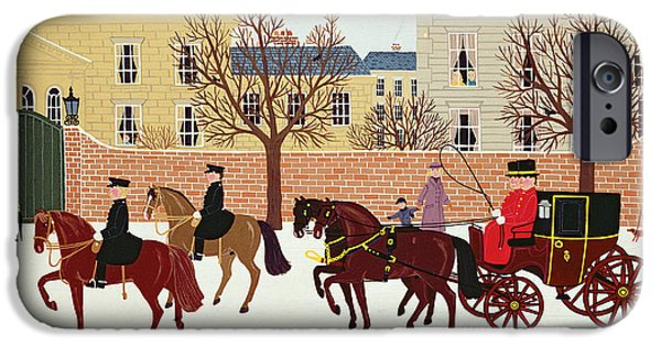 Police Christmas Card iPhone Cases - A Carriage Escorted by Police iPhone Case by Vincent Haddelsey