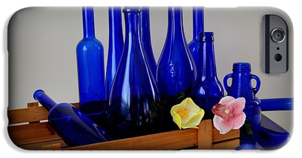 Wine Bottles iPhone Cases - A Case of the Blues iPhone Case by Mary Deal