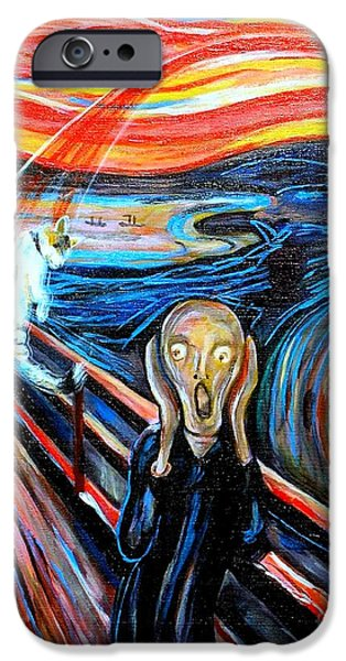 Turbulent Skies iPhone Cases - A Cat for Edvard Munch_ Annie Passing Through iPhone Case by George I Perez