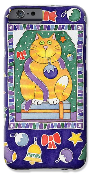 Baubles iPhone Cases - A Cats Christmas, 1995 Wc iPhone Case by Cathy Baxter