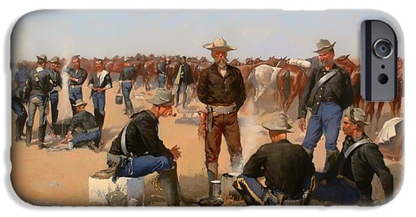 Concept Paintings iPhone Cases - A Cavalrymans Breakfast iPhone Case by Remington
