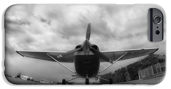 Ground Level iPhone Cases - A Cessna in Fisheye iPhone Case by Mountain Dreams