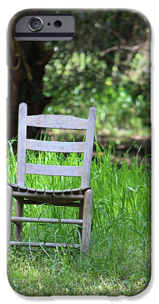 Ladder Back Chairs iPhone Cases - A Chair in the Grass iPhone Case by Lynn Jordan