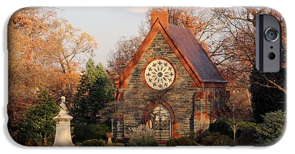 Cora Wandel iPhone Cases - The Chapel In Oak Hill Cemetery -- Home Sweet Home iPhone Case by Cora Wandel