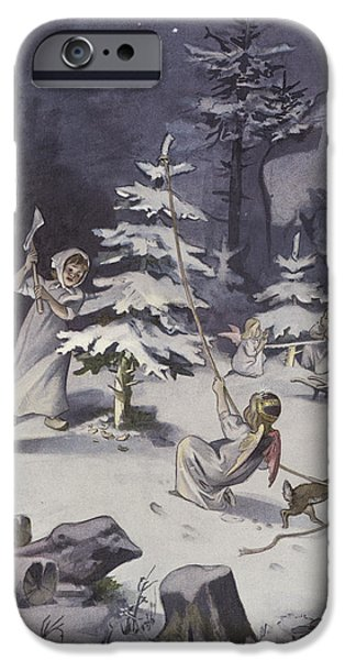 Night Angel Paintings iPhone Cases - A cherub wields an axe as they chop down a Christmas tree iPhone Case by French School